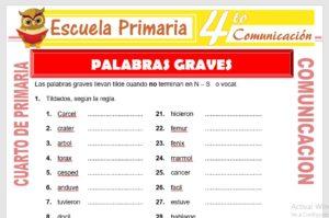 Ficha de Palabras Graves para Cuarto de Primaria