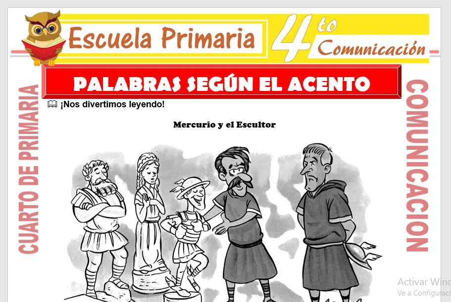 Ficha de Palabras Según El Acento para Cuarto de Primaria