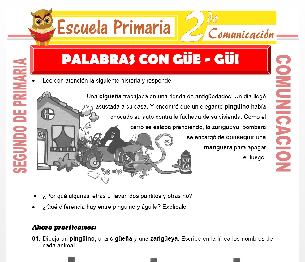 Ficha de Palabras con Güe - Güi para Segundo de Primaria