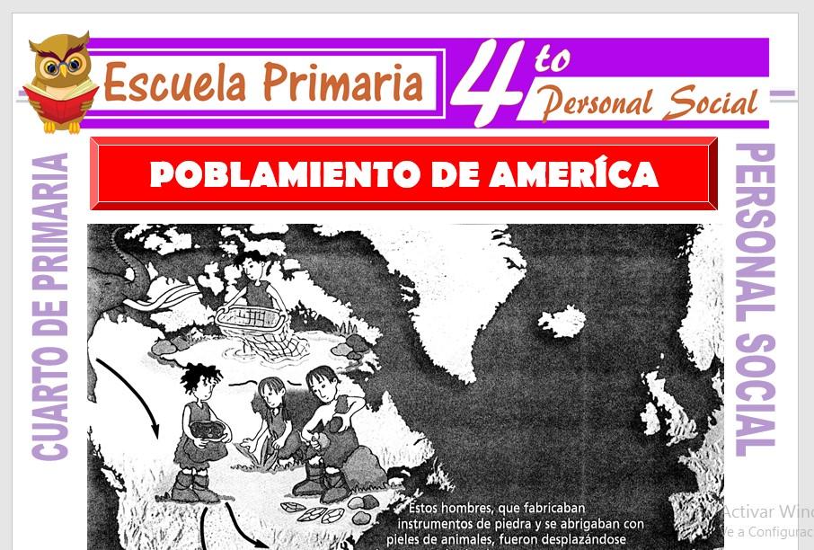 Ficha de Poblamiento de America para Cuarto de Primaria