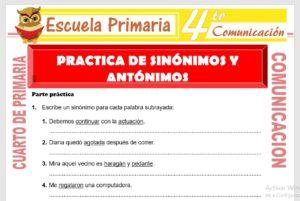 Ficha de Practica de Sinonimos y Antonimos para Cuarto de Primaria