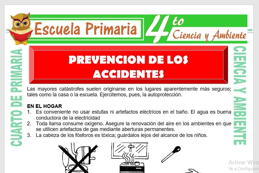 Ficha de Prevencion de Accidentes para Cuarto de Primaria