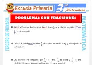 Ficha de Problemas con Fracciones para Tercero de Primaria