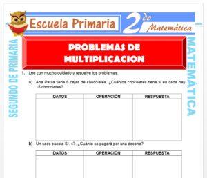 Ficha de Problemas de Multiplicación para Segundo de Primaria