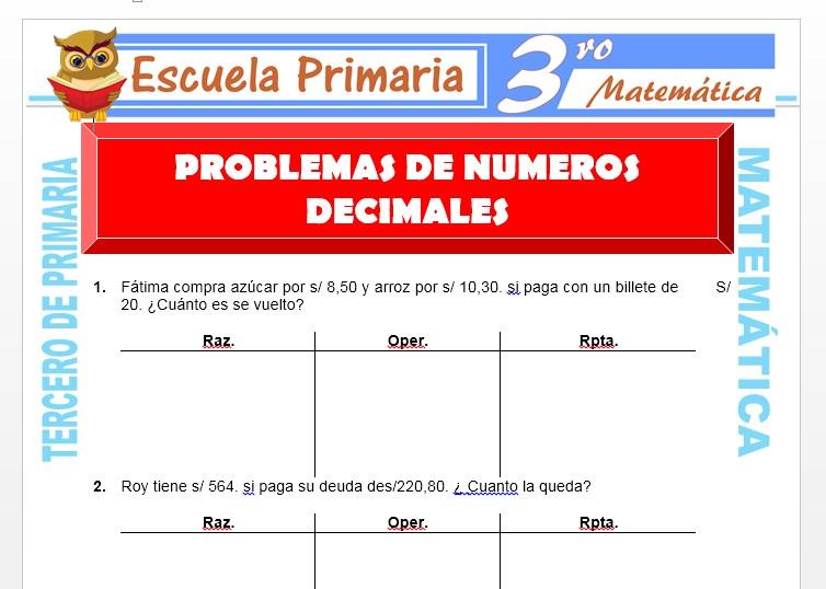 Ficha de Problemas de Números Decimales para Tercero de Primaria
