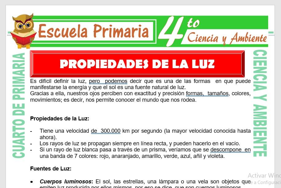 Ficha de Propiedades de la Luz para Cuarto de Primaria