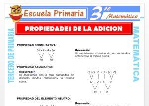 Ficha de Propiedades de la Adición para Tercero de Primaria