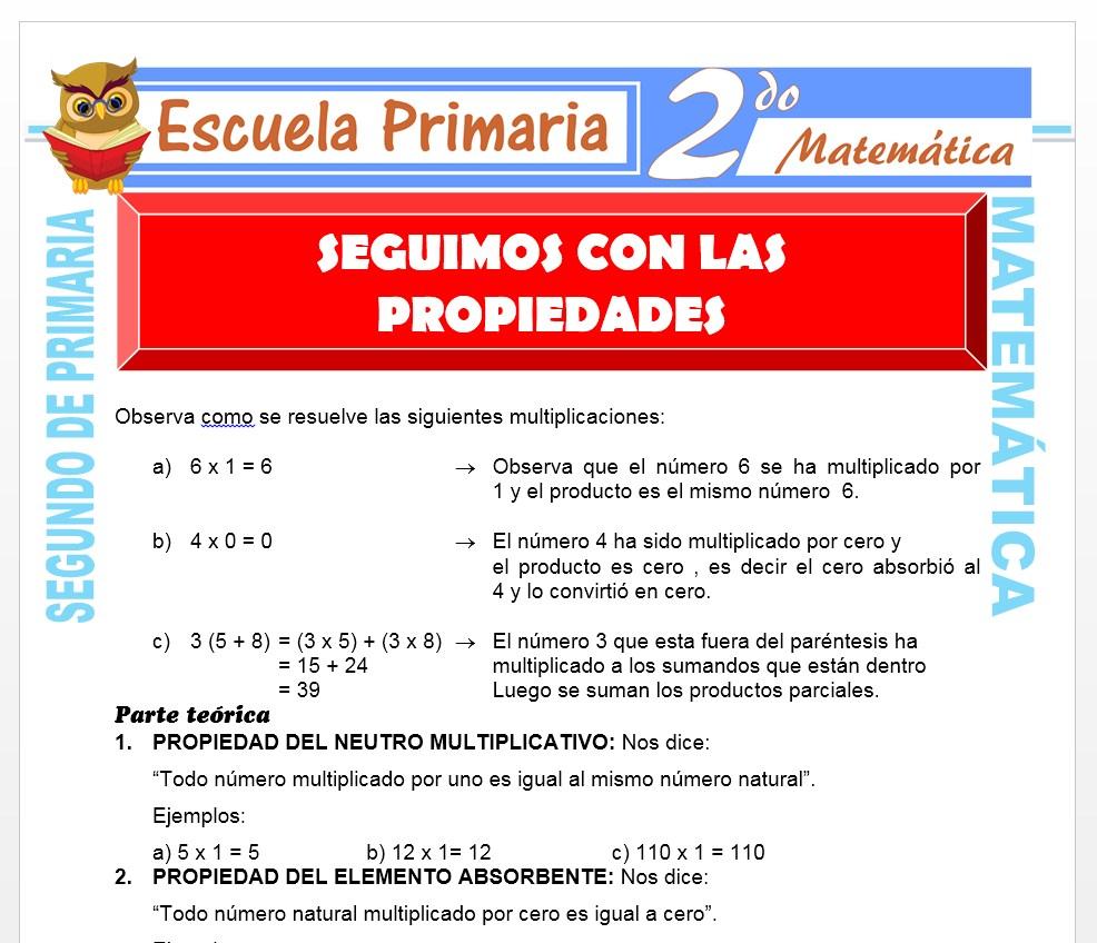 Ficha de Propiedades de la Multiplicación para Segundo de Primaria