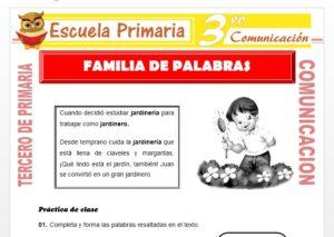Ficha de Que es Familia de Palabras para Tercero de Primaria