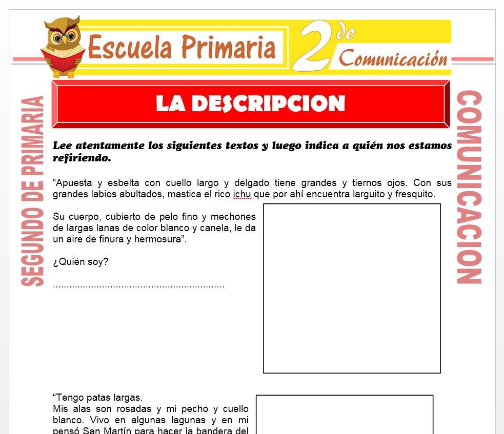 Ficha de Que es La Descripción para Segundo de Primaria