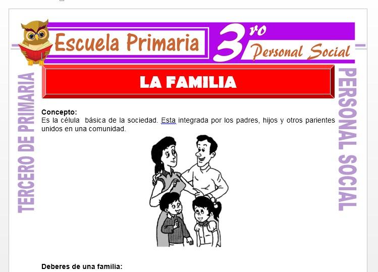 Que es La Familia para Tercero de Primaria