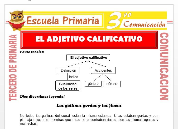 Ficha de Que es el Adjetivo Calificativo para Tercero de Primaria