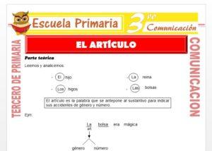 Ficha de EL Artículo para Tercero de Primaria