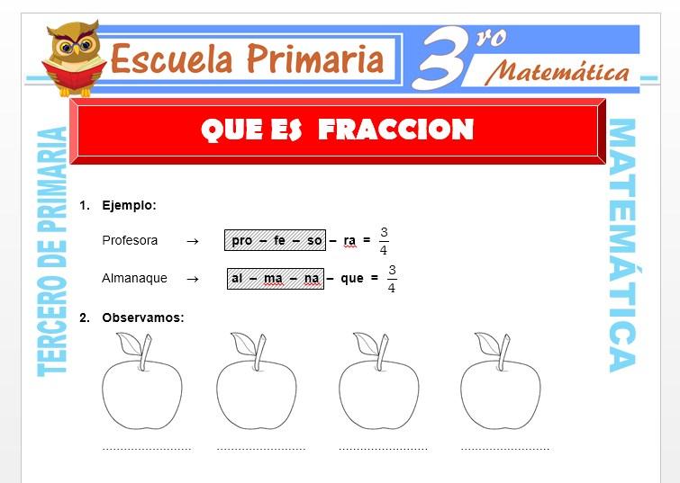 Ficha de Que es la Fracción para Tercero de Primaria
