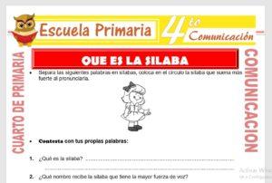 Ficha de Que es La Silaba para Cuarto de Primaria