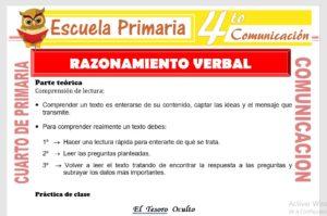 Ficha de Razonamiento Verbal para Cuarto de Primaria