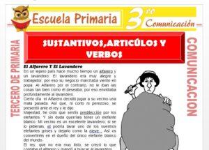 Ficha de Reconociendo Sustantivos, Articulos y Verbos para Tercero de Primaria