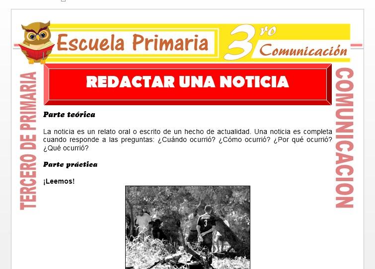Ficha de Redactar Una Noticia para Tercero de Primaria