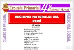 Ficha de Regiones Naturales del Perú para Cuarto de Primaria