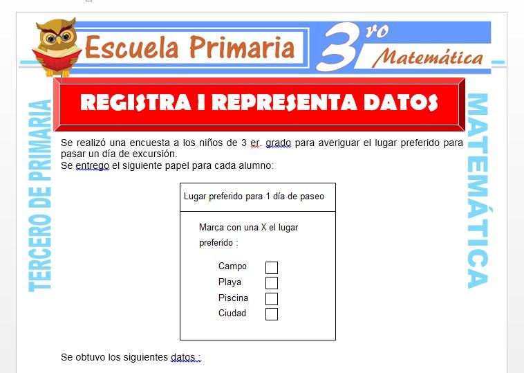 Ficha de Registra y Representa Datos para Tercero de Primaria