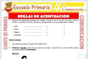 Ficha de Reglas de Acentuación para Cuarto de Primaria