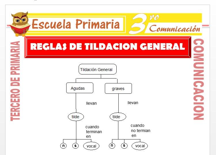 Ficha de Reglas de tildación para Tercero de Primaria