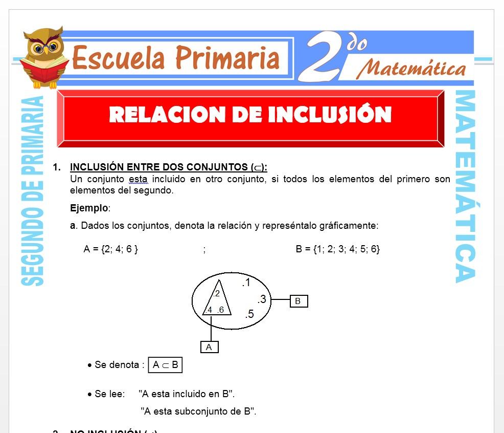 Ficha de Relación de Inclusión para Segundo de Primaria