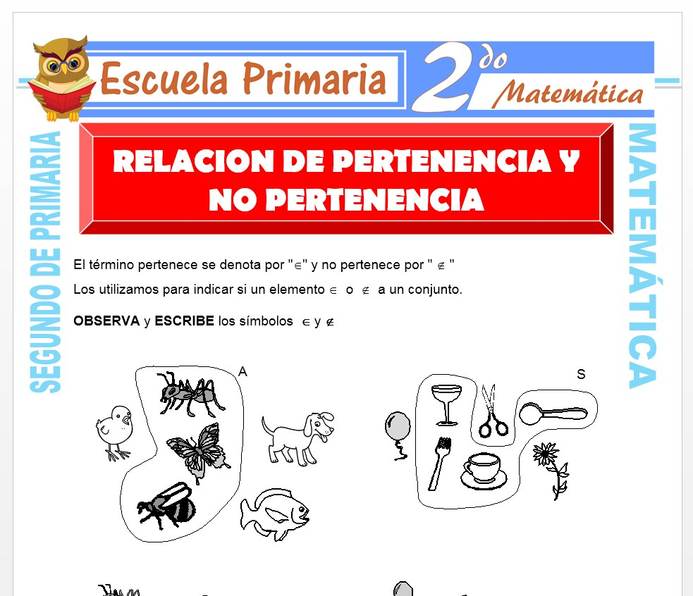 Ficha de Relación de Pertenencias y No Pertenencia para Segundo de Primaria