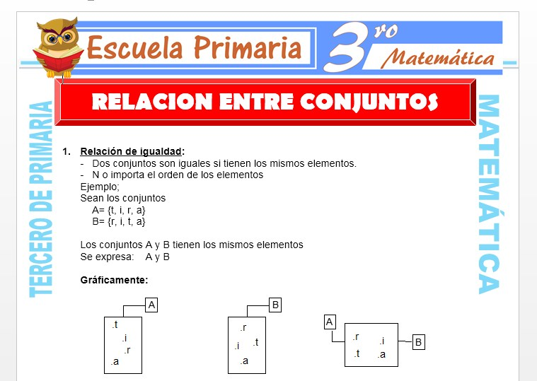 Ficha de Relaciones entre Conjuntos para Tercero de Primaria