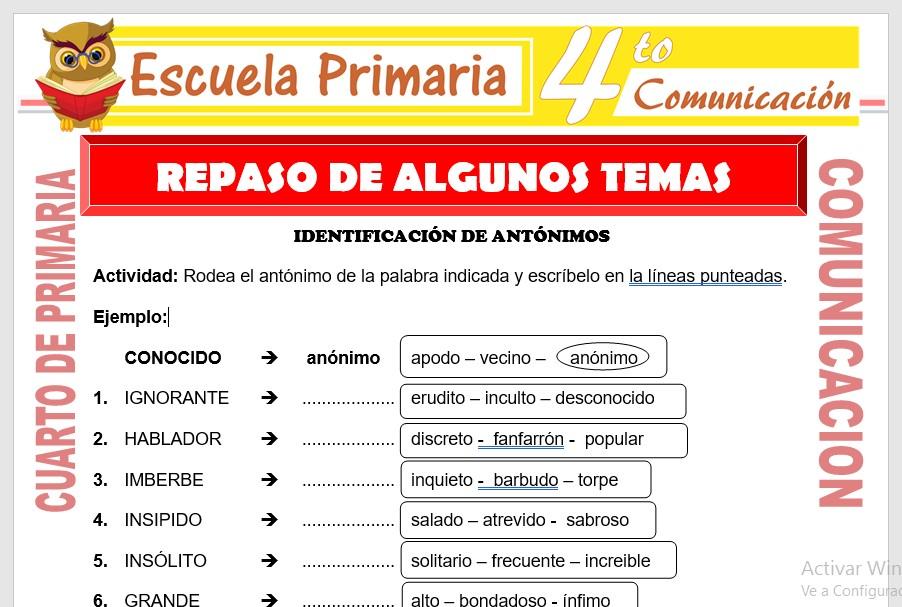 Ficha de Repaso de Algunos Temas para Cuarto de Primaria