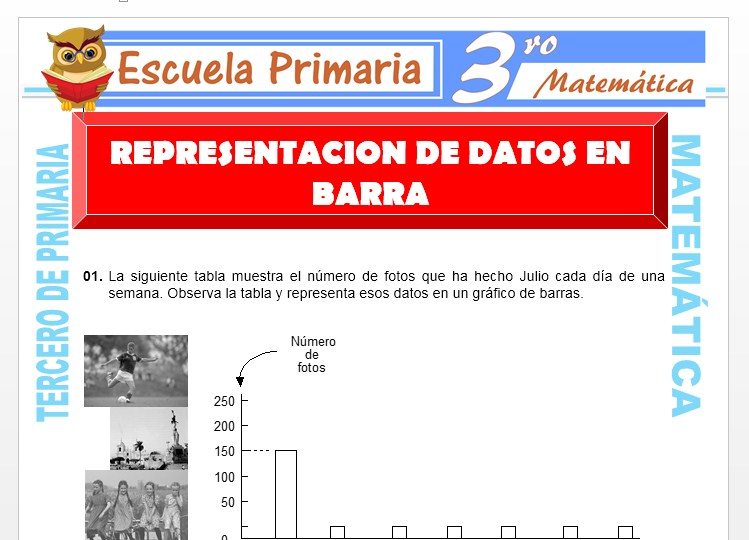 Ficha de Representación de Datos en Barra para Tercero de Primaria