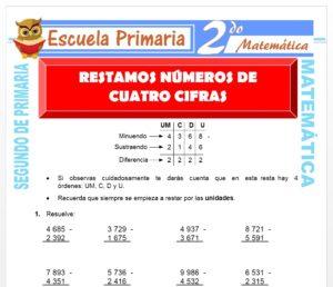 Ficha de Resta de Cuatro Cifras para Segundo de Primaria