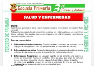 Ficha de Salud y Enfermedad para Tercero de Primaria