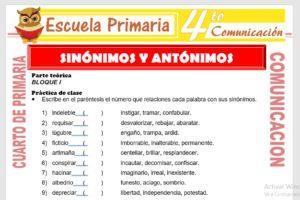Ficha de Sinonimos y Antonimos para Cuarto de Primaria