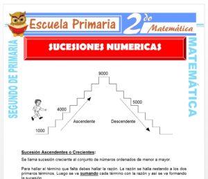 Ficha de Sucesiones Numéricas para Segundo de Primaria