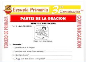 Ficha de Sujeto Y Predicado para Tercero de Primaria