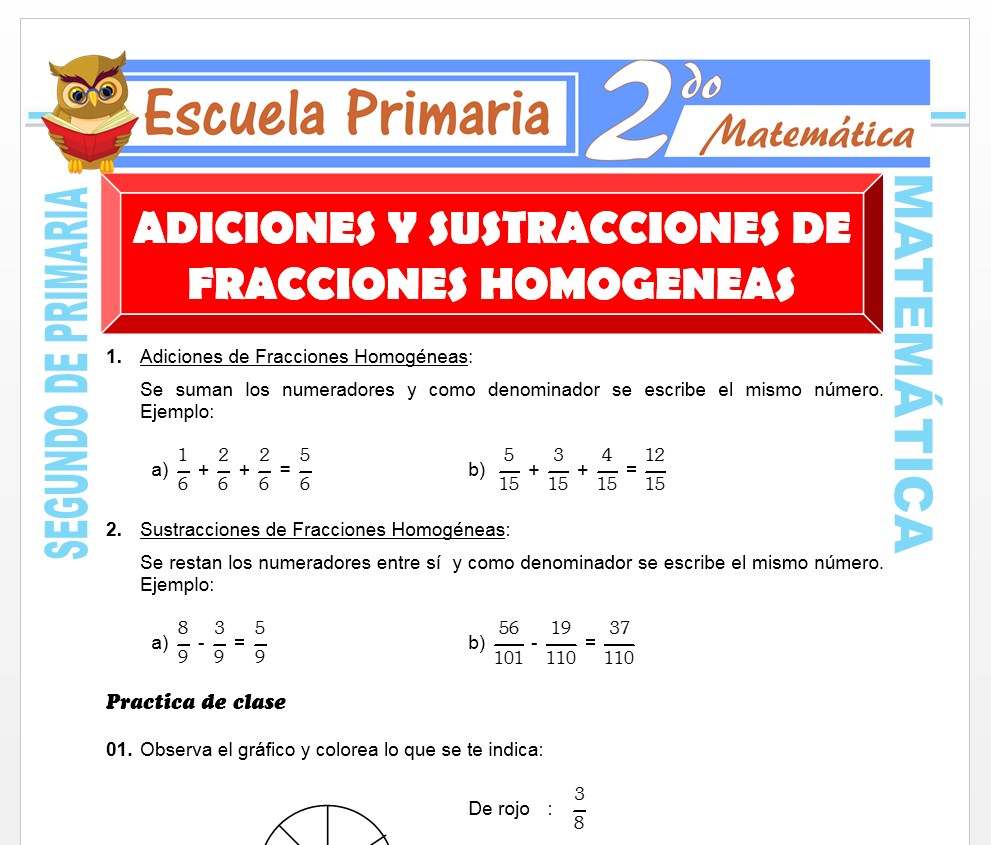 Ficha de Suma y Resta de Fracción Homogéneas para Segundo de Primaria