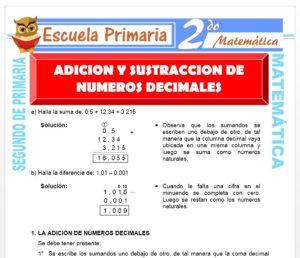 Ficha de Suma y Resta de Números Decimales para Segundo de Primaria