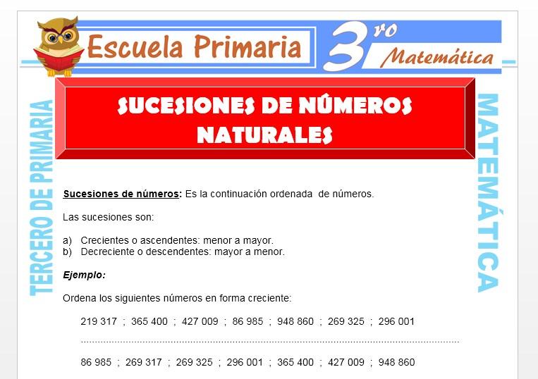 Ficha de Sucesiones de Números Naturales para Tercero de Primaria