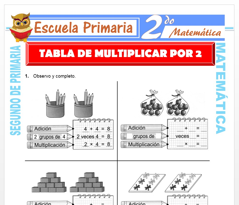 Ficha de Tabla de Multiplicar del 2 para Segundo de Primaria