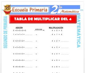 Ficha de Tabla de Multiplicar del 4 para Segundo de Primaria