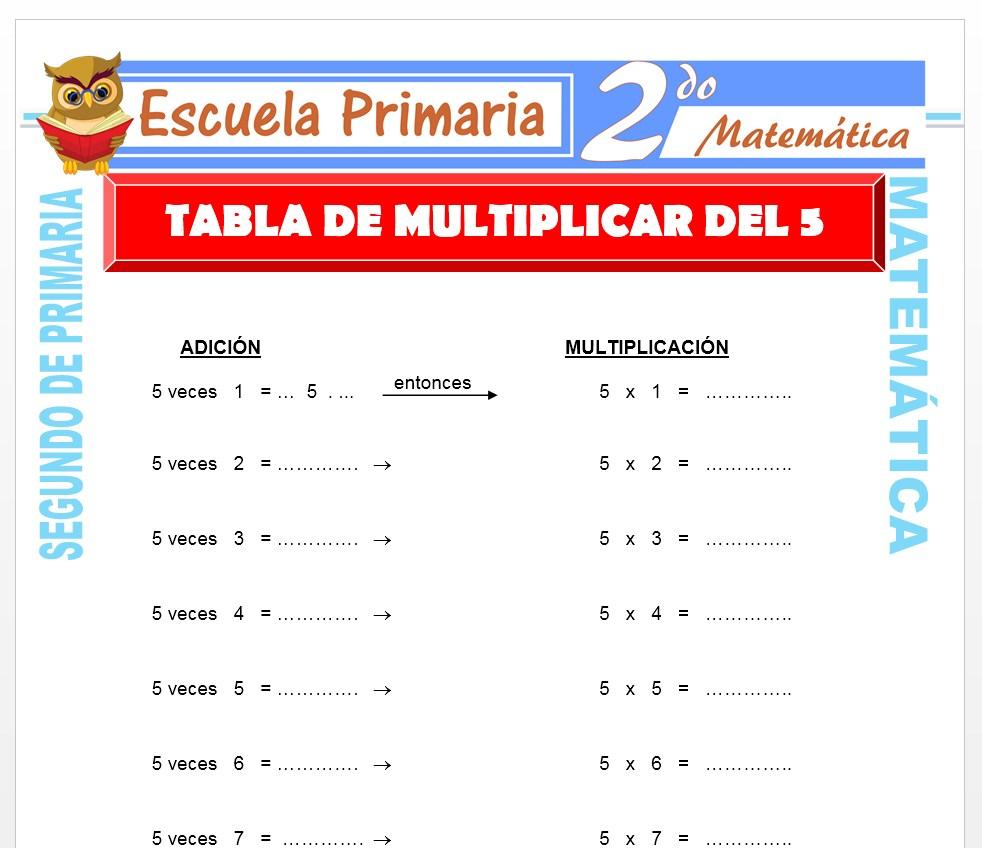 Ficha de Tabla de Multiplicar del 5 para Segundo de Primaria