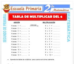 Ficha de Tabla de Multiplicar del 6 para Segundo de Primaria