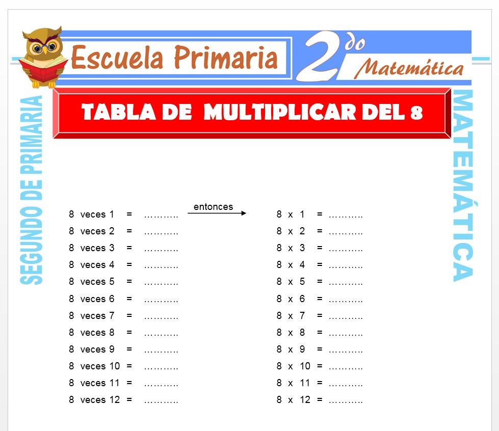 Ficha de Tabla de multiplicar del 8 para Segundo de Primaria