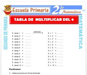 Ficha de Tabla de multiplicar del 9 para Segundo de Primaria