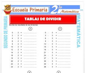 Ficha de Tablas Para Dividir para Segundo de Primaria