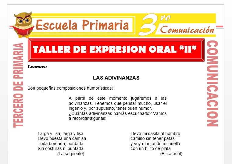 Ficha de Taller de Expresión Oral para Tercero de Primaria