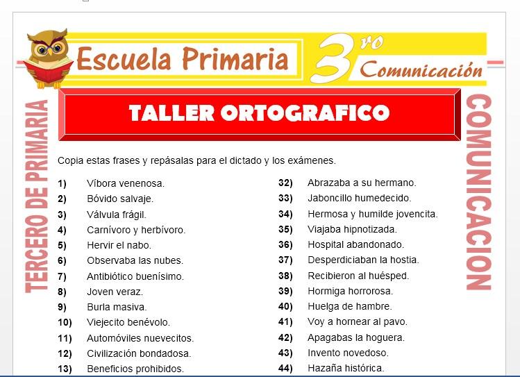 Ficha de Taller Ortografico para Tercero de Primaria