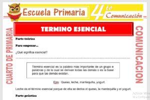 Ficha de Término Esencial para Cuarto de Primaria