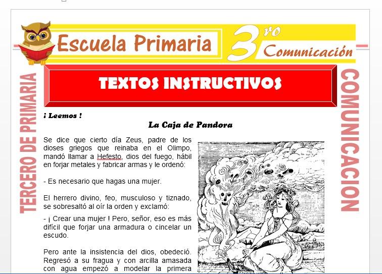 Ficha de Textos Instructivos para Tercero de Primaria